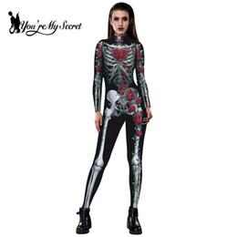 [Tú eres Mi Secreto] 2018 Víspera de todos los Santos de la Moda de Las Mujeres Mono Esqueleto Rose Impresión 3D QMilch Mono de la Tela Disfraces de La Fiesta de Miedo desde fabricantes