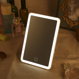 Перезаряжаемый светодиодный квадрат онлайн-Rechargeable LED  Mirror Square Dimming Lamp Vanity Mirror LED Light Touch Screen Adjustable 180 Rotating Cosmetic