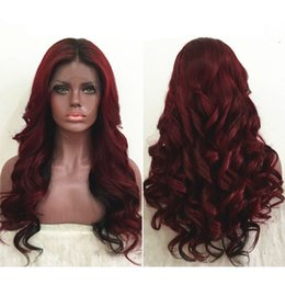Wholesale Wavy Red Wigs - Two Tone Ombre Burgundy Full Lace Human Hair Wigs T1b 99j Loose Wavy Peruvian Virgin Hair Wine Red 150% Density Lace Front Wigs