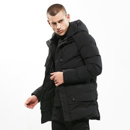 parkas for winter Promo Codes - High Quality Winter Solid Color Coat Men Fashion Thick Hooded Jacket Warm Slim Fit Plus Size Winter Casual Parkas for Male J0190