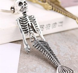 Wholesale key holders for car brands - High Quality Brand Design Keyring Cool Alloy Luxury Skull Mermaid Keychain For Man Women Car Key Buckle Birthday Gift 3 54kt Y