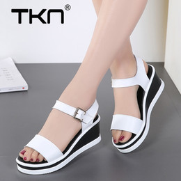 908287be932f TKN 2018 Summer Women white flats sandals wedge sandals woman Platform  Sandalias ladies thick heel sole platform 5012