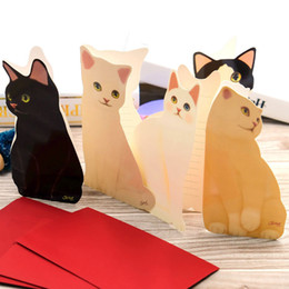 Wholesale Paper Christmas Cards - 20pcs Cute Cat Folding Greeting Card Birthday 3d paper cards Christmas Cards Envelope Writing Paper Stationery Gifts