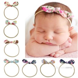 Wholesale print antique - Newborn Baby Headbands Girls Bunny Ear Elastic Nylon Headband Antique Bowknot Flower printed Hairbands Hair Accessories for Girls KHA575
