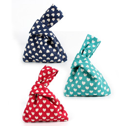 handmade bags sale UK - Hot Sale 1PCS Japanese Style Wind Simple Knot Wrist Bag Mobile Phone Key Small Bag Print Dots Handmade Square