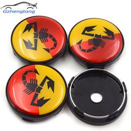Gzhengtong 4 pz / lotto 60mm Giallo Rosso Scorpion Auto Wheel Centro Badge Mozzi Ruote Auto Emblem Abarth Centro Ruota Caps da