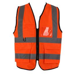 Куртка видимости онлайн-Safety Vest High Visibility Reflective Zipper Security Jacket Outdoor Cycling Waistcoat Working Uniforms Sportswear Clothing