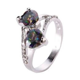 Fashion Lover Schmuck Herz schneiden Rainbow Red Blue Topas Edelstein Silber Ring Größe 6 7 8 9 10 von Fabrikanten
