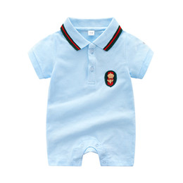 e53bcb8104a2 Infant cotton rompers boys crown bees applique shorts jumpsuits toddler kids  stripe lapel short sleeve romper summer baby girl clothes F0177