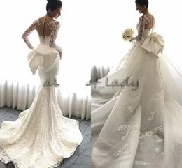 Wholesale Big Red Pictures - Steven Khalil 2018 Detachable Train Mermaid Wedding Dresses with Big Bow Lace Floral Long Sleeve Church Train Garden Wedding Gowns