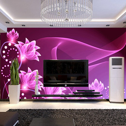 Wholesale Purple Flower Backgrounds - hot can customized wall decor large big mural 3d wallpaper room modern tv sofa background wall covering fresco purple flowers