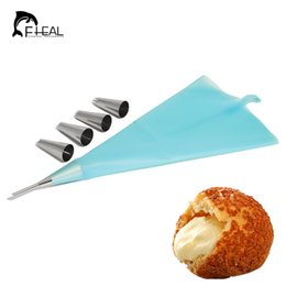 Wholesale Ice Mold Pipe - FHEAL 6pcs set Piping Bag Stainless Steel Nozzles Set Cupcake Cake Decorating Tips For Puff Cream Pastry Horn Mold Icing Piping