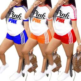 Wholesale women jogger pants shorts - Pink Letter Women Shorts Tracksuits Summer Striped Outfits Love Pink T Shirt Tees + Shorts Short Pants 2PCS Set Jogger Sportswear Suit S-3XL