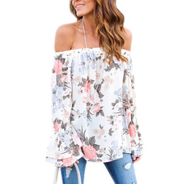 Wholesale Womens White Ruffle Shirt Xl - Long Flare Sleeve Womens Floral Blouse 2018 Summer Off Shoulder Ladies Boho Tops Female Tunics Causal Ruffle Tee Shirts Femme
