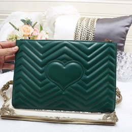 Wholesale Quilted Leather Clutch - women envelope clutch bag 30x20cm real leather handbags high quality quilted heart pattern purse evening party bags 2018
