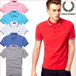 Wholesale Polo Shirt Custom - 2018 Famous Business men sleeve Polo shirts Popular Cotton embroidery Wheat Polos Custom Designer made Fred Dress shirts