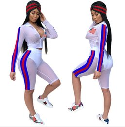 Wholesale usa fashion sexy - 2018 Independence Day Sexy Fashion Mesh Two Pieces Suit USA national flag printed see-through summer sand beach sun-protective clothing best