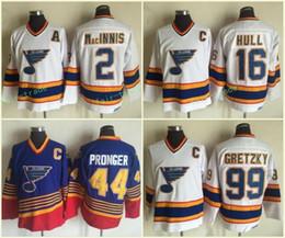 al macinnis Promotion St. Louis Blues # 16 Jersey Brett Hull 2 AL MacINNIS 44 Chris Pronger 99 Wayne Gretzky Bleu Blanc 100% CCM Vintage Classique Hockey