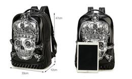 Wholesale Free 3d Golf - Free DHL Fedex UPS Shipping 3D Printed Skull Adult Backpack Men & Women's Casual Backpacks Boys Bags Teenager Punk PU Skeleton Bag
