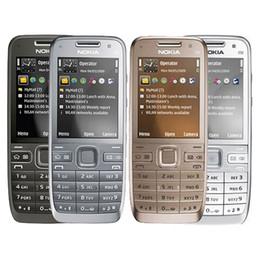 Бар телефон дюйм онлайн-Восстановленный оригинальный Nokia E52 3G бар телефон 2,4-дюймовый экран 3.2 MP Камера WIFI GPS Bluetooth дешевый телефон бесплатная почта 1 шт.