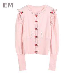 EHMAXRTH Korean Metal Flower Buons Knied Sweater Tops Wild 2018 New  Women Super Qualtiy Long-Sleeves Cardigans E8707 от