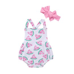 0840ead0382 Summer INS Cute Infant Watermelon Rompers Headband Newborn Baby Girls  Sleeveless Backless Halter Romper Jumpsuit Cotton Sunsuit Outfits
