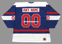 "Camisetas quebec nordiques baratas online-Custom Mens QUEBEC NORDIQUES 1970's WHA ""Customized"" Cheap Retro Hockey Jersey"
