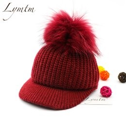 Wholesale Duck Knitting - [Lymtm] 2017 Autumn Winter Knitted Baseball Caps Women Real Raccoon Fur Pom Poms Casual Solid Color Brim Bent Duck Tongue Hats