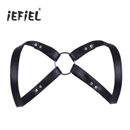 Wholesale Wholesale Men Lingerie - iEFiEL Brand Fashion Sexy Men Lingerie Faux Leather Adjustable Body Chest Harness Bondage Costume with Press Buttons