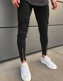 2019 черные разорванные тощие джинсы мужские Мужчины ноги брюки Zip черный узкие джинсы мужчины дизайнер рваные джинсы повседневная хлопок стрейч Жан мужской Slim Fit High Street для мужчин скидка черные разорванные тощие джинсы мужские