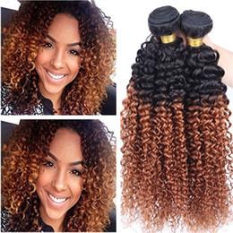 Castaño malayo crespo online-El pelo humano rizado rizado malasio medio de Ombre Auburn teje # 1B / 30 paquetes de los paquetes del cabello humano de la Virgen castaña Ombre 3pcs tramas dobles