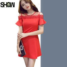 Wholesale Korea Summer Short Dress - A Line Dresses Hot Sales Women Fashion Korea Style Design Summer Short Sleeve Open Off Shoulder Red Little Black Sheer Dress