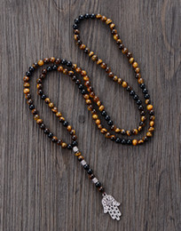 Wholesale tiger eye crystal necklaces - Men Necklace 6mm Tiger Eye Onyx With Antique Beads Hamsa Fatima Hand Pendant Mens Rosary Necklace Men Jewelry Dropshipping