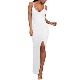 Women Sexy Low-Cut V-Neck Sling Sleeveless High Split Bodycon Dress Ladies  Clubwear Party Long Dresses Vestidos SJ067C 658984845