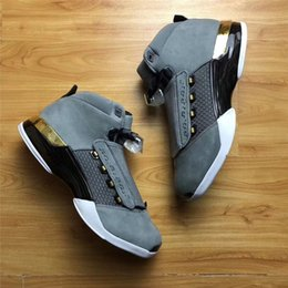 Wholesale Notes Fabric - Air Retro 17 Trophy Room Grey Black Gold Basketball Shoes Note Authentic Sneakers Men With Shoes Box Outdoors Sports Hot Sale Free Shipping