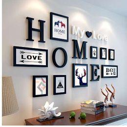 Fotos de amor blanco negro online-European Stype Home Design Wedding Love Marco de fotos Decoración de pared Marco de madera Set Marco de fotos de pared, Blanco Negro