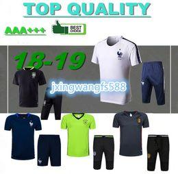 Wholesale men new t shirts - new 2018 FRANCE short sleeve training suit 16 17 18 Belgium portugal Germany tracksuit T shirt spain soccer jerseys chandal maillot de foot