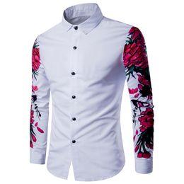 camisa de vestido da flor dos homens Desconto 2017 New Arrival Homem shirt do teste padrão design de manga comprida Flores florais impressão Slim Fit Casual homem camisa da forma homens vestem camisas