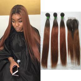 Extensiones de cabello color 33 online-Malasia Ombre # 1B / # 33 de dos tonos de color recto del pelo humano armadura 3 paquetes con 4x4 parte media del cordón Frontal Vendedores extensiones de cabello virgen