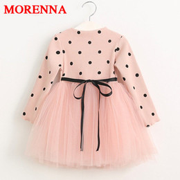 Wholesale Casual Full Length Gowns - MORENNA Girls Dress 2018 Casual Children Clothing Ball Gown Dot Print Kids Clothes Girls Dresses Princess Dress