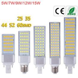 Lâmpada led horizontal on-line-G24 Lâmpadas LED 5 W 7 W 9 W 12 W 15 W E27 LEVOU Milho Lâmpada Lâmpada SMD 5050 Holofotes 180 Graus AC85-265 V Luz Horizontal Plug