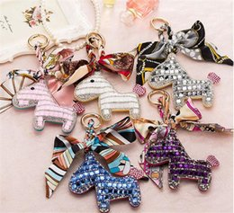 Wholesale Metal Charm Scarf - 20pcs Fashion Cute Women's Bag&Car Pendant High-end Handmade Scarf Leather Handbag Key Chains Tassel Rodeo Crystal Horse Bag Charm J037