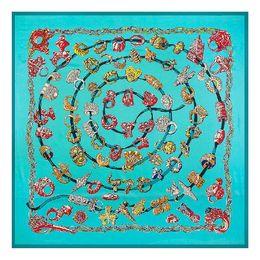 Wholesale digital printing silk scarves - 130x130cm 100% Silk Square Scarf Women Luxury Ring Digital Print Scarves&Wraps Euro Brand Hijab Foulard Bandana Fashion Silk Neckerchief