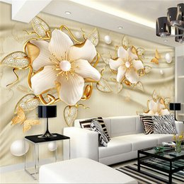 Wholesale cover entertainment - European Style Luxury Wallpaper 3D Golden Jewelry Flowers Silk Wall Papers Living Room TV Sofa Backdrop Wall Covering Home Decor