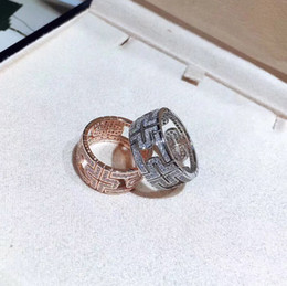 Wholesale Men Diamond Ring Designs - Brand name S925 pure silver hollow design lovers Band Rings with diamond for Women and Men brand jewelry in silver and rose gold PS5462
