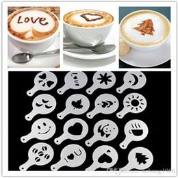 Plantillas de cafe online-Nueva Llegada 16 Unids Café Milk Cupcake Stencil Barista Cappuccino Plantilla de Plástico Varias Formas de Alta Calidad de La Venta Caliente 1 8tt R