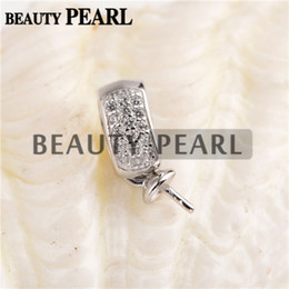 Wholesale Sterling Silver Small Pendants - Bulk of 2 Pieces Pendant Settings for Round Pearl 925 Sterling Silver Zircons Small Charm DIY Jewellery