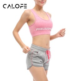 Wholesale Tennis Suits Girls - Wholesale- CALOFE Outdoor Women Yoga Sets Bra Shorts Fitness Sets Fixed strap Gym Sports Running Tennis Girls Leggings Tops Sport Suit