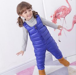 Wholesale Casual Cargo Jacket - Children'S Down Jacket Cargo Pants Baby Boys Outside Crotch Strap Winter Girls Siamese Kids Trousers Thick Down Vest Windproof