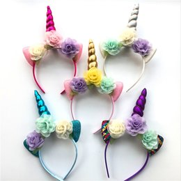 Wholesale kids hair color sticks - 2018 Glitter Metallic Unicorn Headband Girls Chiffon Flowers Hairband For Kids leaf flower Unicorn Horn Party Hair Accessorie TO610